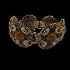 Vintage Czech Max Neiger Enamel Cabochon Filigree Bracelet