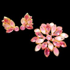 Pink Navette Givre Rhinestone Brooch and Earring Set