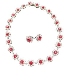 Eisenberg Ice Ruby Red and Crystal Rhinestone Necklace and Clip Earrings Set
