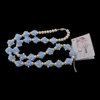 Botticelli Art Deco Glass Pearl and Blue Floral Beaded Necklace