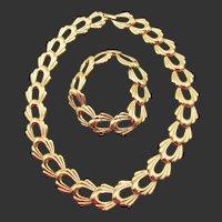 Signed Monet Gold Tone Curb Link Necklace and Bracelet Set