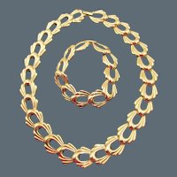 Signed Monet Gold Tone Curb Link Necklace and Bracelet Set