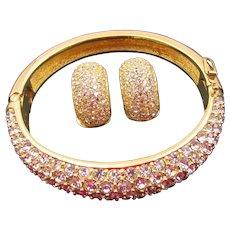 Christian Dior Diamante Rhinestone Bangle Bracelet and Half Hoop Earrings