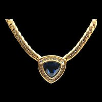 Christian Dior Sapphire Blue Rhinestone Necklace