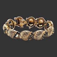 Signed Joseph Mazer Emerald Rhinestone 6.25 inch Gold Plated Bracelet