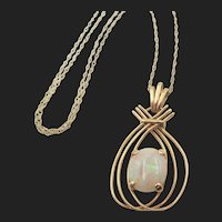 14k Yellow Gold Natural Opal Pendant on 20 inch Chain
