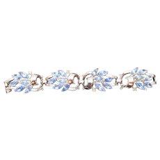 Trifari Silver-tone Topaz Marquise Rhinestone Bracelet