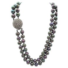 Ciner Multi-Colored Glass Faux Pearl and Rhinestone Double Strand Necklace