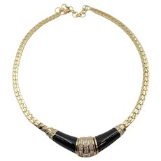 Christian Dior Black Enamel and Crystal Rhinestone Necklace