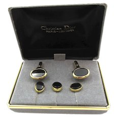 Vintage Christian Dior Formal Onyx Gold Tuxedo Set