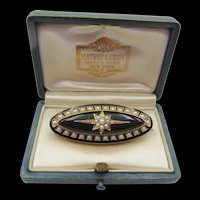 Victorian 18K Gold Onyx and Seed Pearl Mourning Brooch/Pin