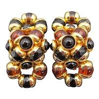 Vintage European Designer Black and Rootbeer Double Circle Clip Earrings