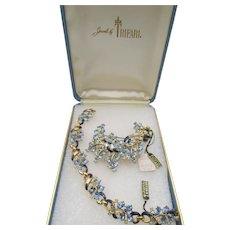 Crown Trifari Blue Rhinestone and Enamel Bracelet and Brooch Set in Original Box