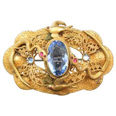 Egyptian Revival Victorian Sash Ornament Brooch Jewelled Snakes