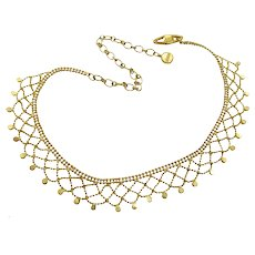 Vintage Givenchy Gold Plated Lacy Woven Rhinestone Bib Necklace