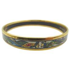 Signed Hermes Enamel Gold Plated Bangle Bracelet