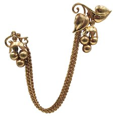 Vintage 1940s Brass Grape Chatelaine Fur Clips Brooch