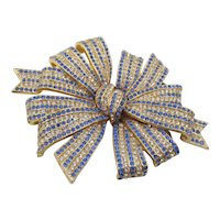 Exquisite Ciner Sapphire Blue and Diamante Rhinestone Large Ribbon Brooch/Pendant