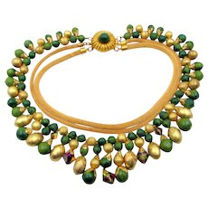 Vintage Marbled Green, Brushed Gold and Vitrail Crystal Three Strand Necklace