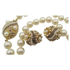 Boucher for Le Couturier Faux Pearl and Topaz Rhinestone Enamel Necklace and Clip-On Earrings