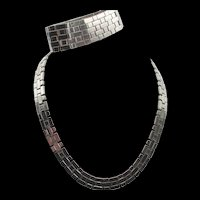 Vintage Crown Trifari Silver-tone Woven Necklace and Bracelet Set