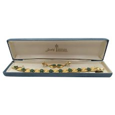 Trifari Birthstone Series May Emerald Rhinestone Ribbon Bracelet and Earring Set in Box