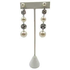 Art Deco Style Faux Pearl and Rhinestone Dangle Earrings