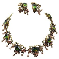 Gorgeous Florenza Green Bi-Color Rhinestone and Faux Pearl Necklace and Earring Set