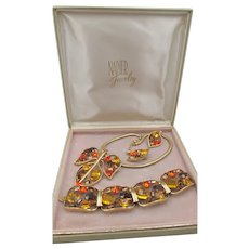 Vintage Napier Leaf Rhinestone Grand Parure Mint in Original Box Bertolli Design