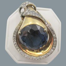 Early Ralph DeRosa Sapphire Blue and Crystal Rhinestone Fur Clip