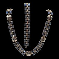 Vintage Sapphire Blue Rectangle Rhinestone Necklace and Bracelet Set
