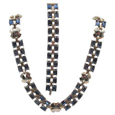 Vintage Sapphire Blue Rectangle Rhinestone Necklace and Bracelet Set