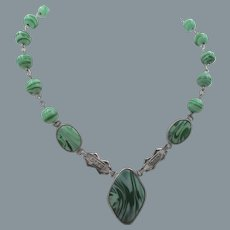 Czech Art Deco Green Swirled Glass Drop Pendant Necklace
