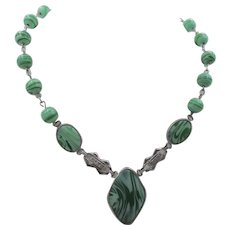Czech Art Deco Green Swirled Glass Drop Pendant Necklace