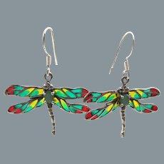 Sterling Silver Plique A Jour Dragonfly Chrysoprase Pierced Earrings