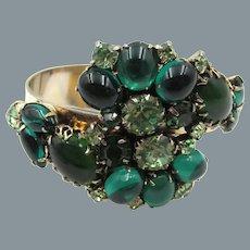 Gorgeous Emerald Green Cabochon Rhinestone Clamper Bypass Bracelet