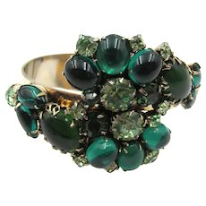 Gorgeous Emerald Green Cabochon Rhinestone Clamper Bypass Bracelet