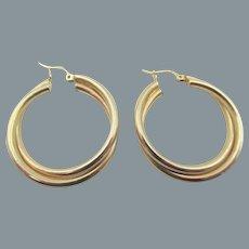 "14kt Yellow Gold Double Twisted 1.25"" Hoop Earrings"