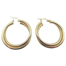 "14kt Yellow Gold Double Twisted 1.25"" Hoop Earrings"