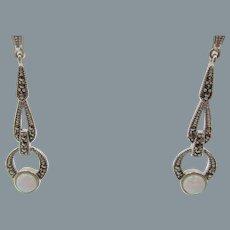 Art Deco Style Sterling Silver Marcasite and Opal Drop Pierced Earrings