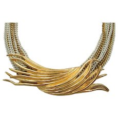 Signed and Numbered Marcel Boucher Multi-Chain Gold Wave Necklace
