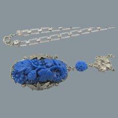 Czech Blue Carved Glass Pendant Necklace