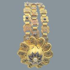 Etruscan Revival Enamel Faux Pearl Triple Bookchain Bracelet