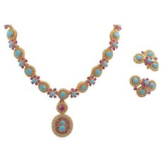 Vintage Faux Turquoise and Ruby Rhinestone Necklace and Earring Set