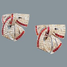 Pair of Art Deco Crystal and Red Rhinestone Bow Dress Clips