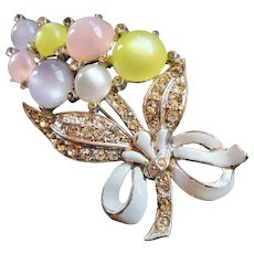 Coro Pastel Moonglow and Enamel Floral Bouquet Brooch