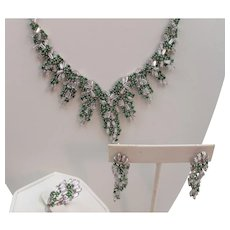 Intricate Sterling Faux Emerald and Crystal Rhinestone Necklace, Earrings and Ring