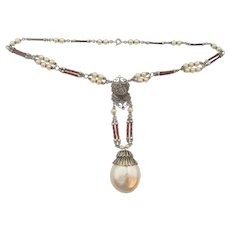 Vintage Czech Art Deco Faux Pearl and Leather Necklace