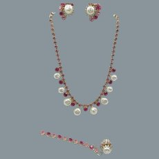 Signed Weiss Shades of Pink Rhinestones and Faux Baroque Pearl Necklace, Bracelet and Earring Set