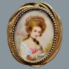 Original by Robert Handpainted Portrait Brooch/Pendant